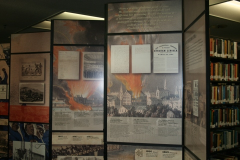 The exhibit is made up of a line of panels each detailing a pivotal time in Lincoln's life.  Exhibit on display at the LRC through October 1st.    Photo by Chelsea Ratterman