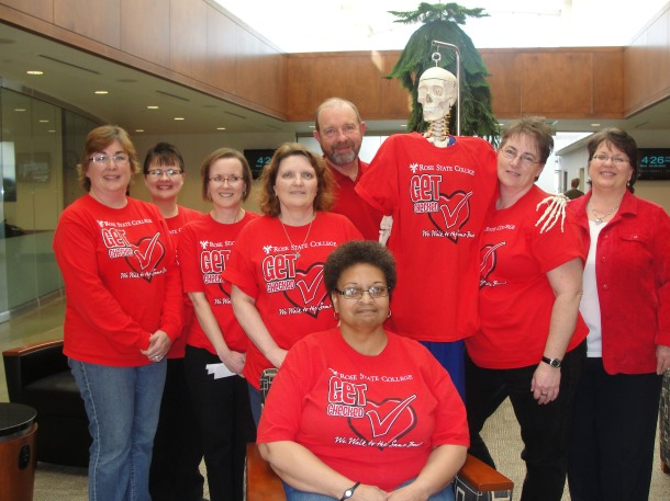 "On Feb. 29, in an effort to get a ""leap"" on heart problems, members of the Health Science Division donned their red shirts, in solidarity with RSC campus, in order to promote heart health. Photo by Marsha Littles, office manager, Health Science Division."