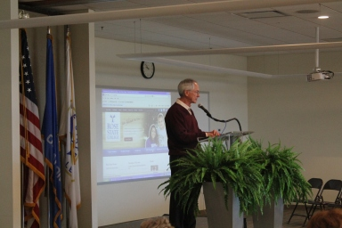 Dr. Terry Britton addresses the gathered faculty and staff January 18 on the second day of the planned convocation program.
