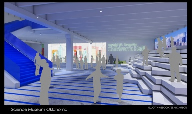 Artist rendering of the interrior of the Science Museum's Oklahoma children exhibit. Image courtesy of Science Museum Oklahoma