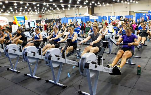 Indoor rowing and kayaking are two activities featured at the Bart and Nadia Sports and Health Festival