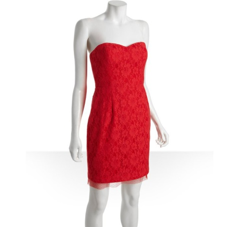 """To get Emma Stone's fiery look, try the BCBG Max Azria lipstick-red cotton-and-lace strapless sweetheart """"Roselle"""" bustier dress from Bluefly.com for $125.29. Photo courtesy of mctcampus.com"""
