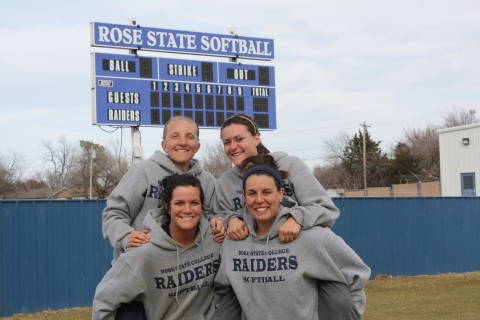 Sophomore Lady Raiders (Left to Right) Nikki Brandt, Tanner Moody,Sam D'Alessandro and Ashley Sanferd. Photo By Marisa Caban