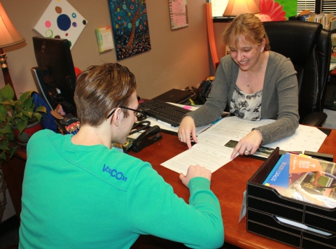 Academic advisor Lisa Will assists student Jacob Keefover in choosing his next step in his academic career. Photo By Josi Weaver