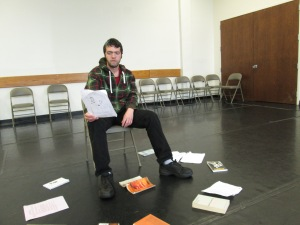 John Morgan goes over potential improv topics in the Improv Group's first meeting.