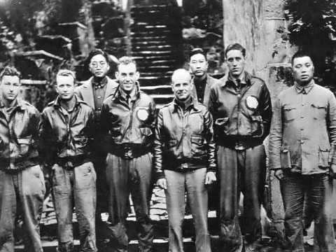 Major General Doolittle, his Raiders and Some Chinese friends in China after the U.S. Bomber attack on Japan in 1942