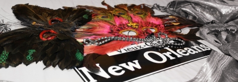 Still life photo of New Orleans  themed items including masks, beads, and even a gator head.