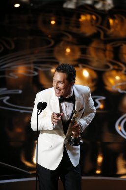 Matthew MacConaughey on stage during the 86th annual Academy Awards on Sunday, March 2, 2014, at the Dolby Theatre at Hollywood & Highland Center in Los Angeles.