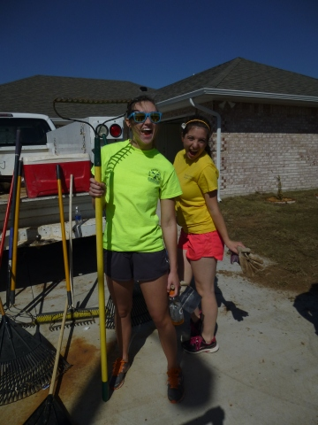 Student Senators take a break during a habitat for humanity  event