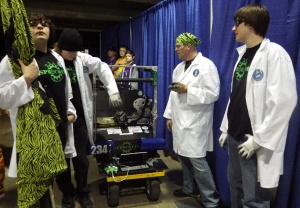 : Robotics team No. 2341 the Sprockets prepares for the 2014 FIRST regional competition.