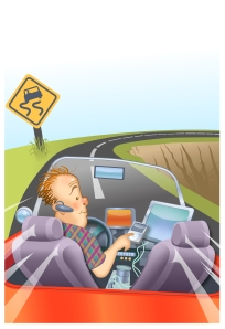 ILLUSTRATION: Distracted driver