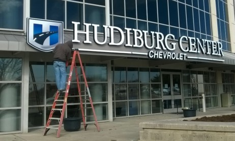 The new Hudiburg Chevrolet Center sign is nearly complete on Jan. 29, 2014. (Photo by Jessica Phillips)