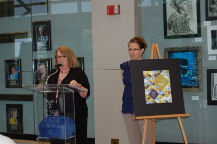 Pegasus co-editors Dianne Krob and Noelle Merchant presented this year's edition of Pegasus on April 23, 2015